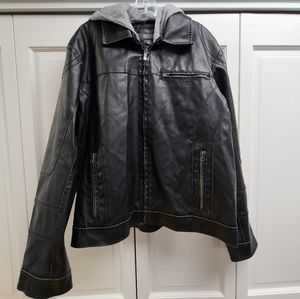 🕶 Kenneth Cole Reaction Leather Jacket w/ Hoodie